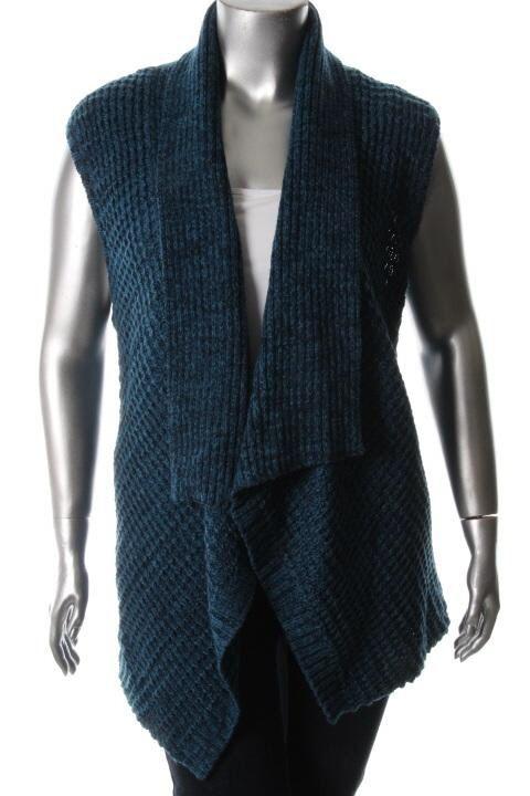 Karen Scott New Blue Marled Open Front Casual Sweater Vest Plus 2X