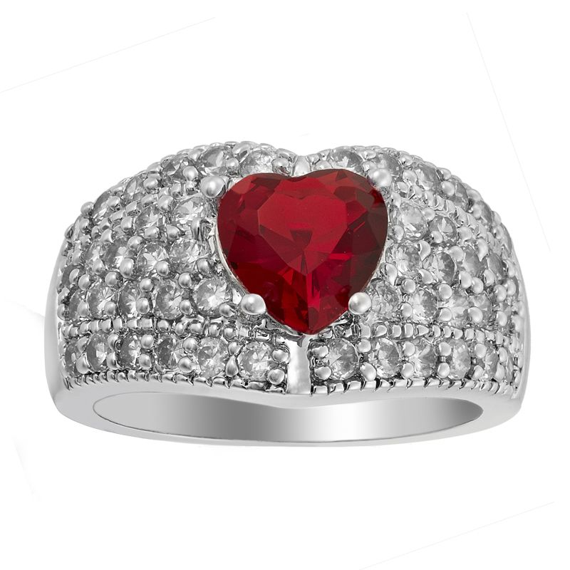 LADY FASHION JEWELRY RUBY GARNET WHITE GOLD GP COCKTAIL RING GIFT 6/M