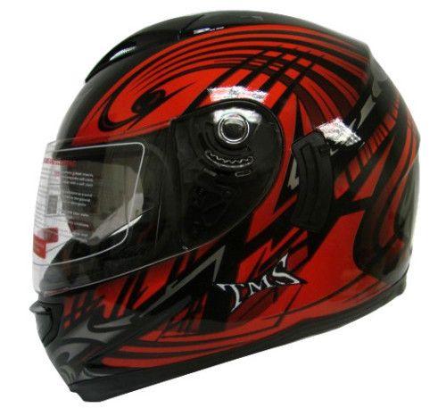 Red Tribal Dual Visor Full Face Motorcycle Helmet Dot M