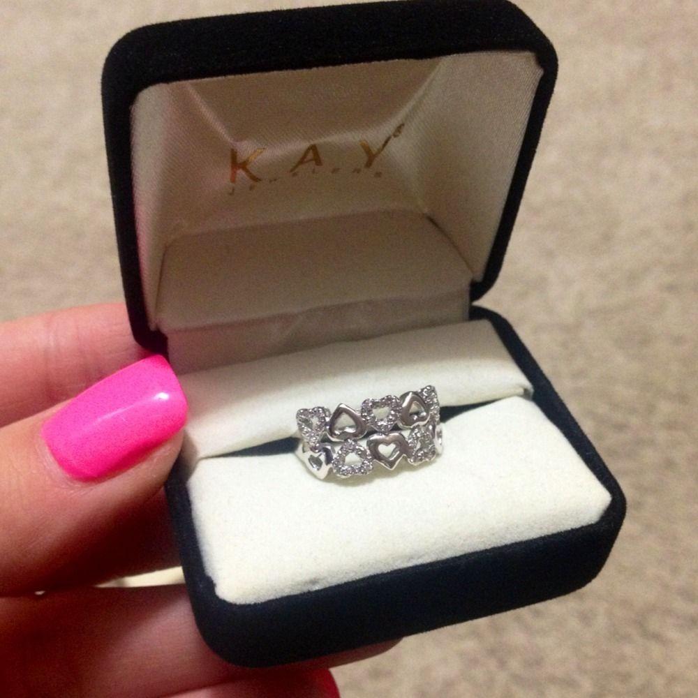 18K Kay Jewelers White Gold Diamond Heart Ring Valentines Day