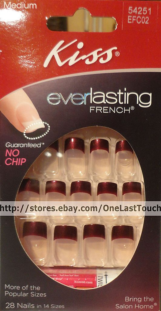 Kiss Everlasting French 28 Glue on Nails Burgundy Tips Medium 54251 2