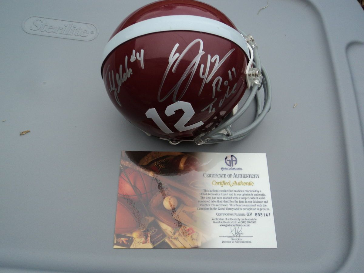 Eddie Lacy T J Yelden Signed Alabama Crimson Tide Helmet GA GAI Global