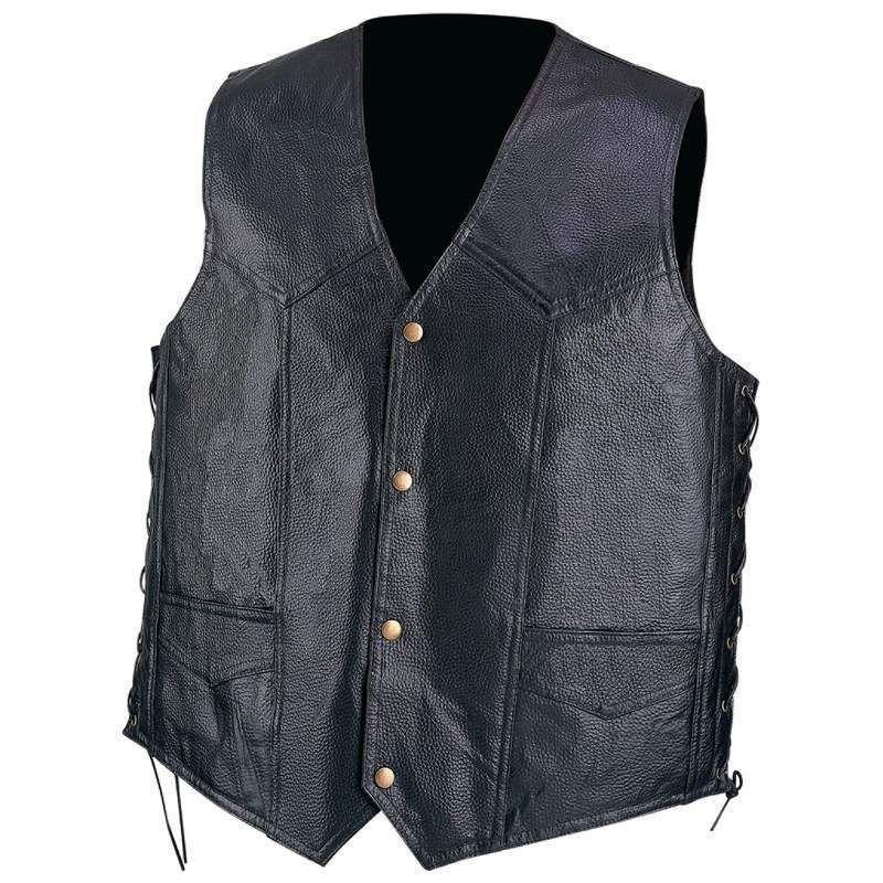 Mens Pebble Grain Black Leather Motorcycle Vest w Lace