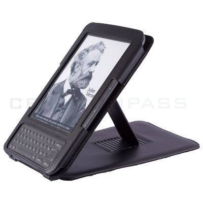 Black Leather Case Cover Stand for  Kindle Keyboard 3 Kindle 3
