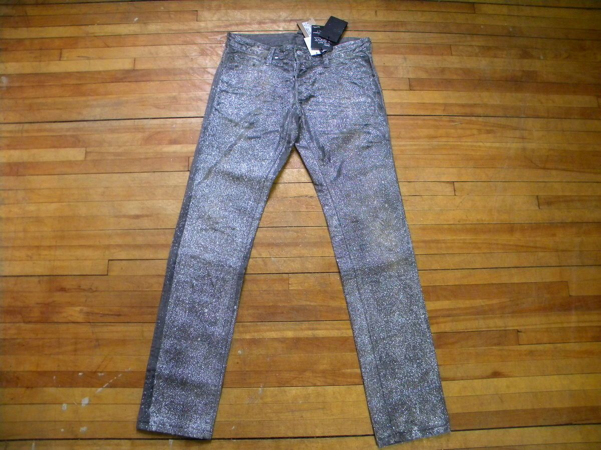 DSQUARED RUNWAY AMAZING SLIM FIT STAIN GREY SHINNY GLITTLER GREY JEANS