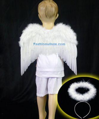 feather angel wings & marabou headband halo angel bird macaw costume