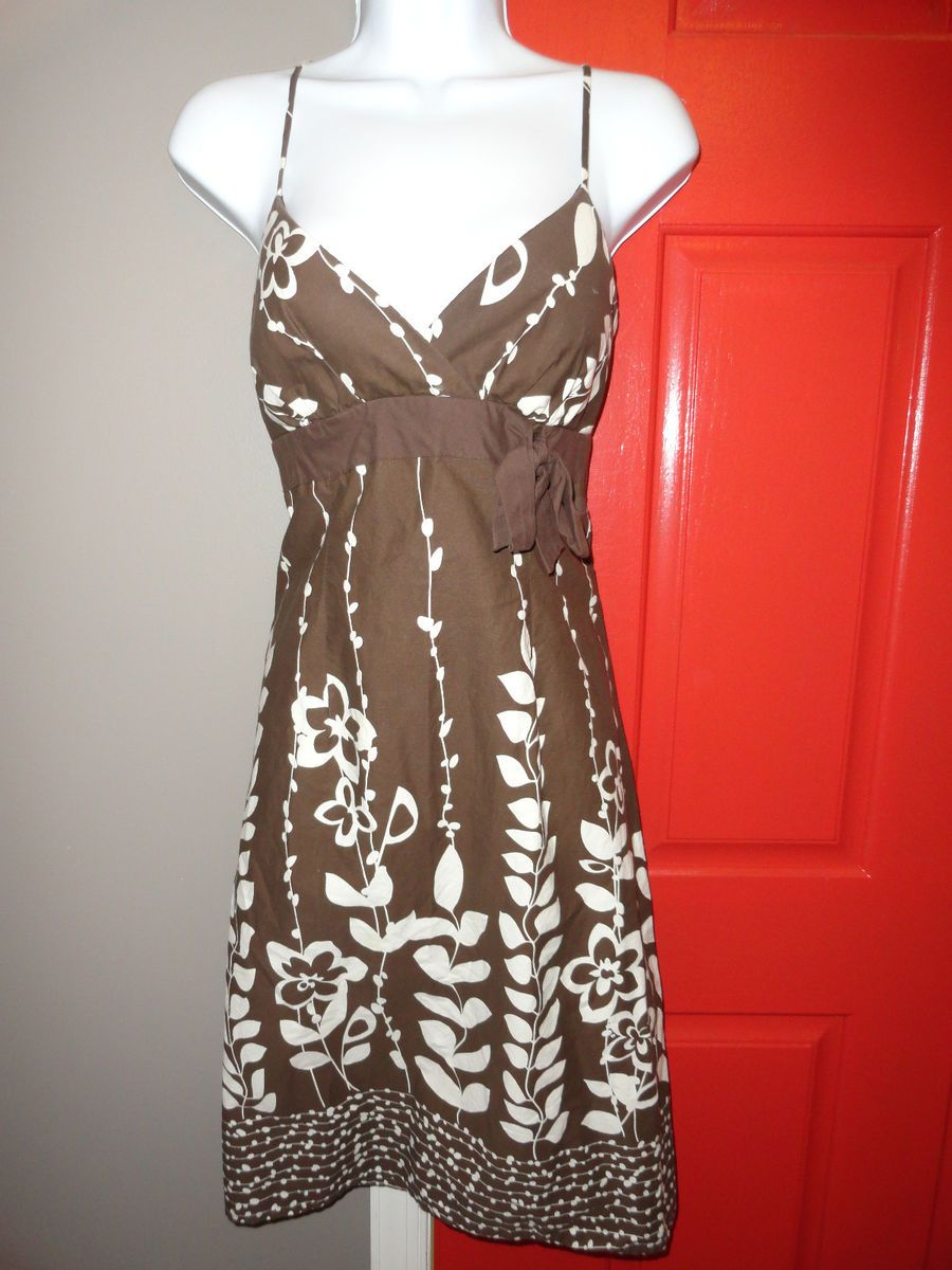Maurices Brown White Print Dress Size 7