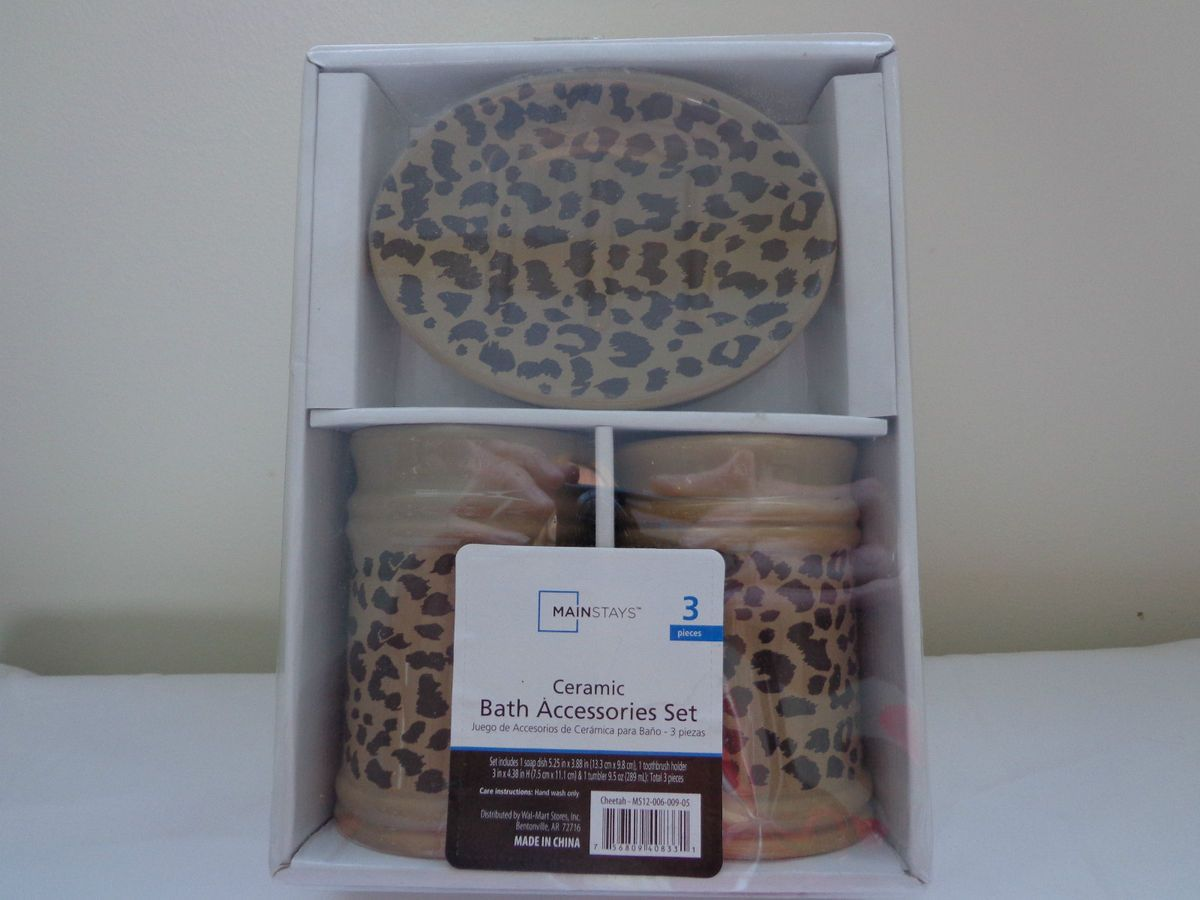 Mainstay 3 PC Ceramic Bath Access Set Cheetah Design