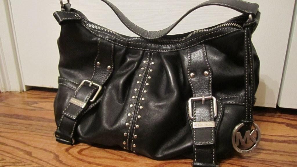 Michael Kors Black Leather Shoulder Bag Purse with Silver Hardware