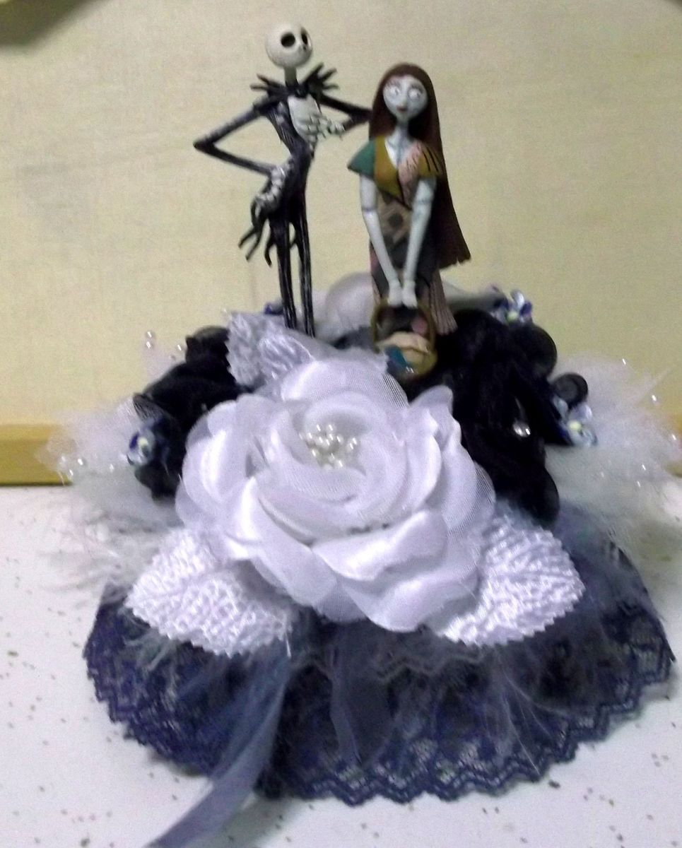 Nightmare Before Christmas Wedding Cake Topper Jack Sally White Dark
