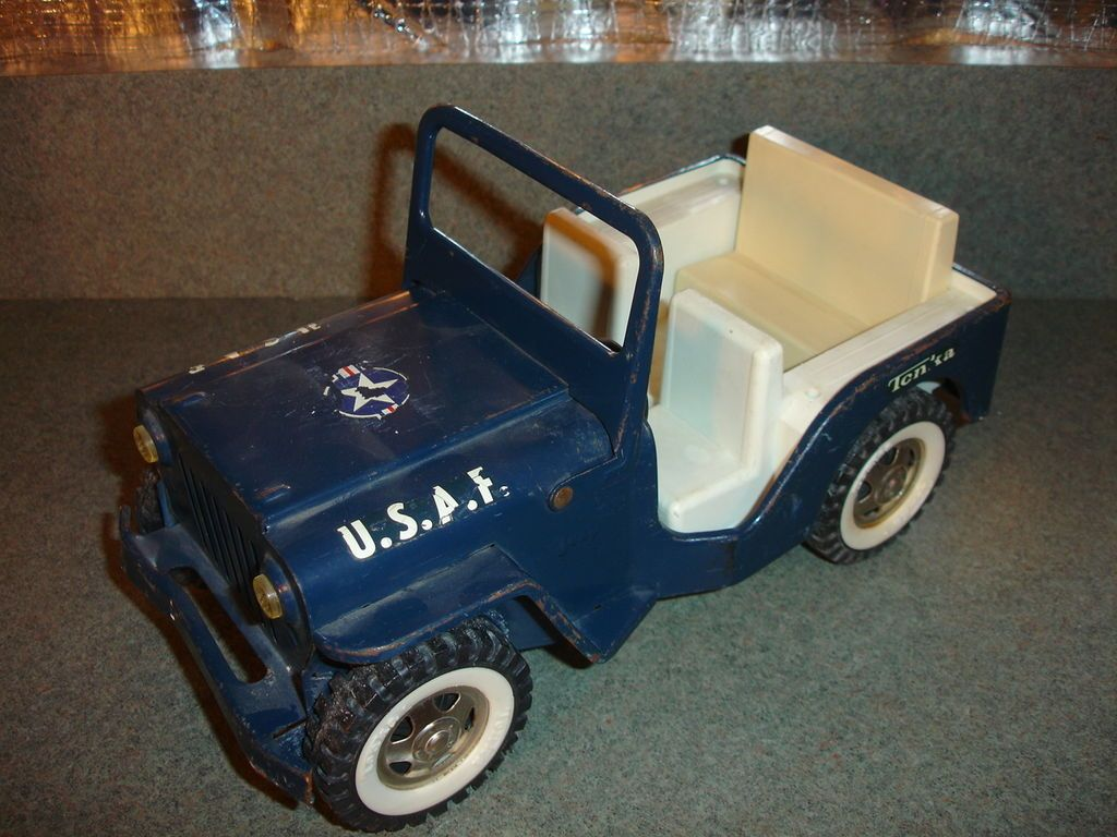 Old Vtg Antique Usa Airforce Tonka Truck Jeep Toy With White Wall