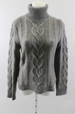 CECE Gray Cashmere Cable Knit Long Sleeve Turtleneck Sweater Size