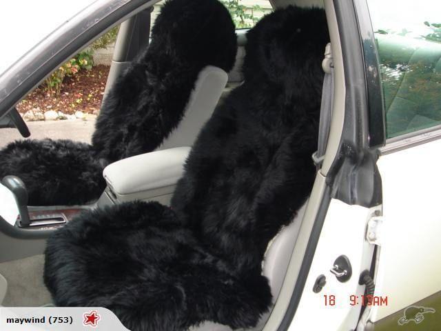 Pair Black Sheepskin Car Seat Covers Cover MoreColors