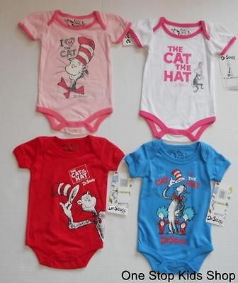 Dr Seuss Baby 3 6 9 Mo Creeper Bodysuit Shirt Set Outfit Cat In The