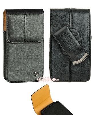 4G LTE BLACK NAPA LEATHER POUCH CASE ROTATED BELT CLIP PHONE HOLSTER
