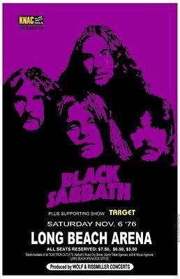 Black Sabbath 1976 box office concert POSTER Long Beach ozzy