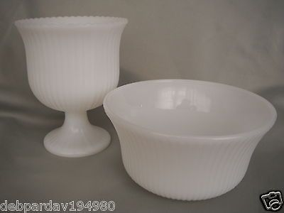Vintage Eoody Com3000 Milk Glass Pedestal Vase M6000 Planter Or