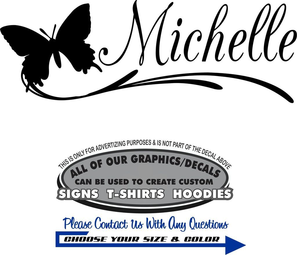 Name Butterfly Sticker Decal 4 Laptop Car Window Wall Mirror Door Auto