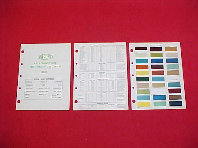 1969 CHEVROLET FORD GMC MACK DODGE I.H. TRUCK PAINT CHIPS COLOR CHART
