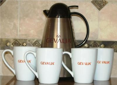 THERMAL STAINLESS STEEL ~ INSULATED LINED COFFEE CARAFE ~ W/ 4 MUGS