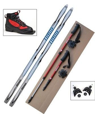 NEW Kids 75mm Cross Country SKIS/BINDINGS/ BOOTS/POLES   140cm  No Wax