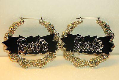 Gold Barbie AB Crystal Basketball Wives Nicki Minaj Bling Earrings Ear