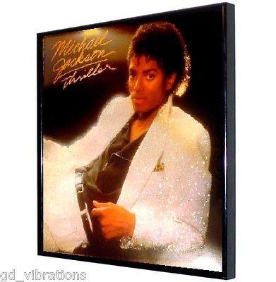 TOTE Glitter FRAMED LP Vinyl Album Cover MICHAEL JACKSON Thriller 84