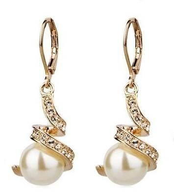 18K Rose Gold GP Swarovski Crystal White Pearl earrings C38
