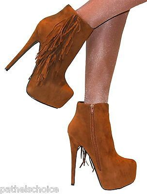 LADIES SIZE 6 TAN SUEDE FRINGED ANKLE BOOT CONCEALED PLATFORM STILETTO