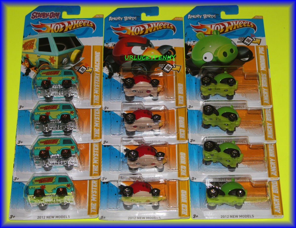 12) 2012 HOT WHEELS SCOOBY DOO MYSTERY MACHINE ~ ANGRY BIRD ~ MINION