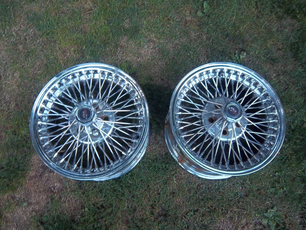 14 x 7 Vintage Chrome Dayton FWD Wire Wheels Rims 5x100