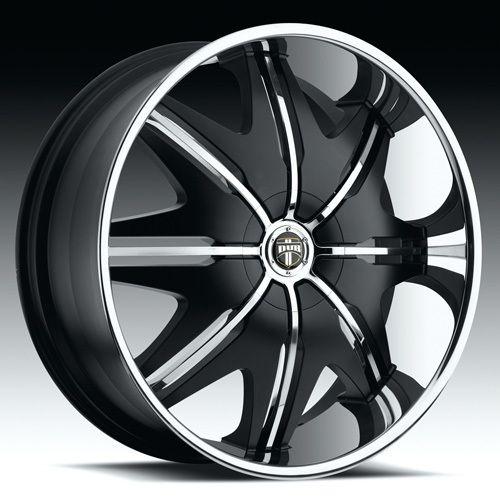 28 Dub 1pc Doggie Style Wheel Set Black 28 inch Rims 5 Lug 6 Lug