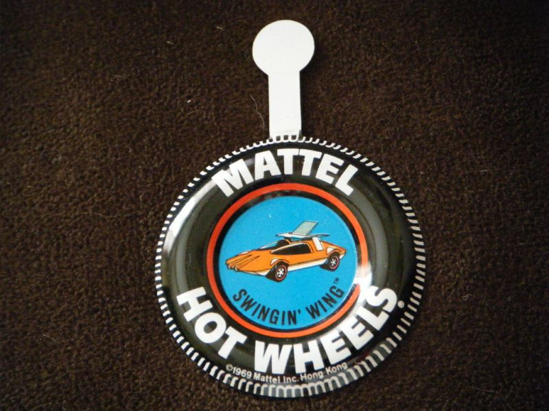 1969 Hot Wheels Redline Swingin Wing RARE Pin Badge Button RARE with