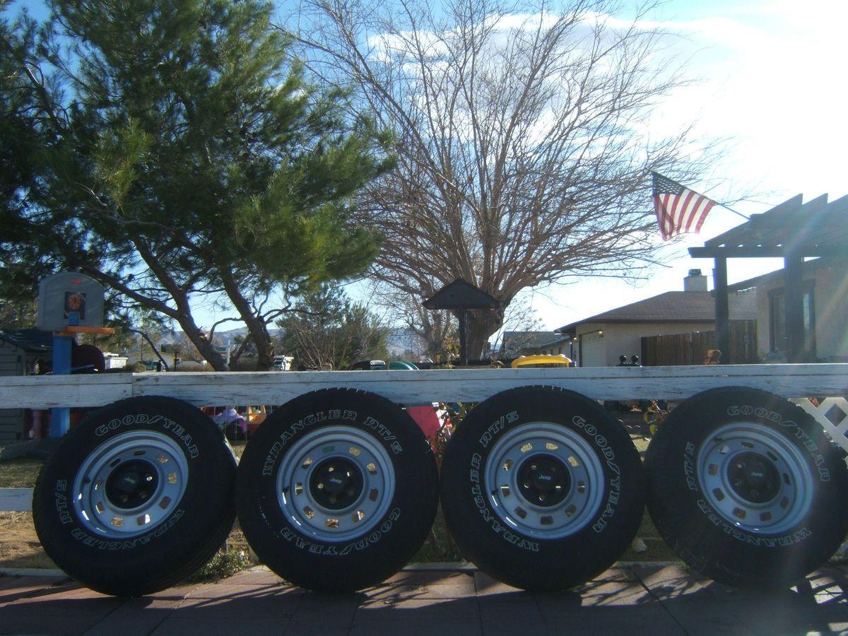 Jeep Wrangler Cherokee OEM 15 Rims 5 Lug Wheels Tires Goodyear RTS 235
