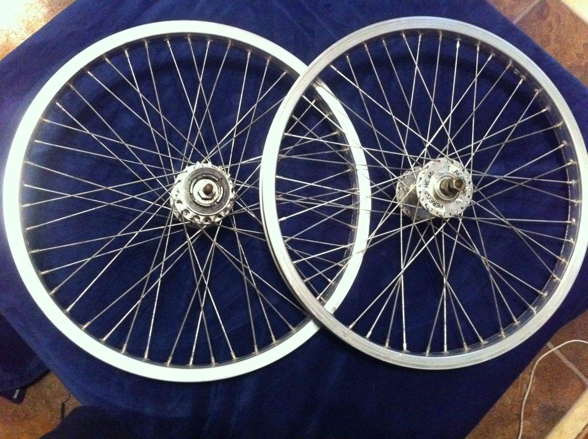 48s wheel set, rims, 1980s old school bmx parts, satin finish wheels