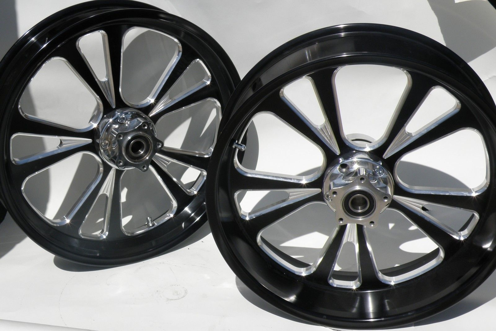 Black Wheel Rim Set 2000 Up Harley Bagger Touring Billet Wheel Set