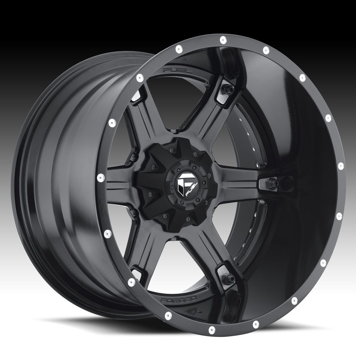 Driller 2pc Wheel Set Black 20x9 Rims Ford Chevy Dodge Wheels